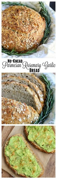 This no-knead bread is so easy to make, and it's loaded with grated parmesan cheese, fresh rosemary and garlic powder. Perfect for sandwiches, avocado toast, or serving with any Italian dinner! Cooking Bread, Bread Baking, Cooking Recipes, Healthy Recipes, Bread Recipes, Tasty Meals, Sandwich Recipes, Rosemary Bread, Garlic Bread