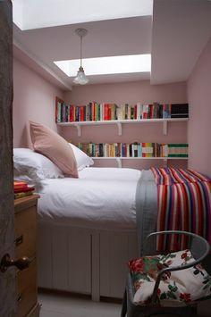 Farrow & Ball- Walls: Calamine No.230 Estate Emulsion Bed: Pointing No.2003 Estate Eggshell Ceiling: All White No.2005 Estate Emulsion