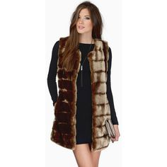Tobi Catch Me In The Snow Fur Vest ($45) ❤ liked on Polyvore featuring outerwear, vests, taupe, fur vest, brown vest, brown fur vest, brown waistcoat and sleeveless waistcoat