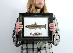 Washington State Fish Map art Nature Outdoor art by WoodenPencilCo