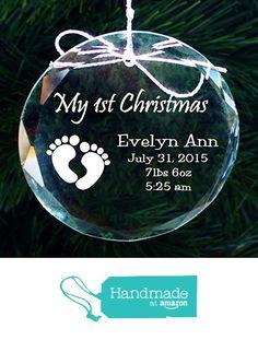 Babys First Christmas Ornament, Handmade Crystal Holiday Ornaments - First Christmas Ornament, Holiday Ornaments, Christmas Bulbs, Merry Christmas, Holiday Decor, Babys, Crystals, Gifts, Handmade