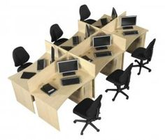 Individual desks which can be grouped in any number of units with a dayfiler and lock and the option of wooden screens.