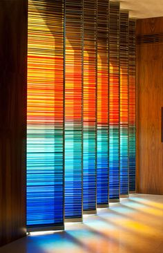 Would LOVE this as bedroom or living room patio doors or if inexpensive way to paint or faux stain glass for light colors to cast stain colors  christian y claudio gantous arquitectos / casa a-v, méxico df