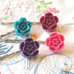 Four Resin Handmade Hair Pins Colors as shown by BeadMerryDesigns, $6.00