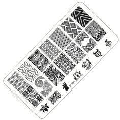 1 pcs Baru Bunga Renda Cetak Stensil Nail Art Stamping Gambar Pelat Alat Kecantikan Manicure Template DIY Polish BC01-10