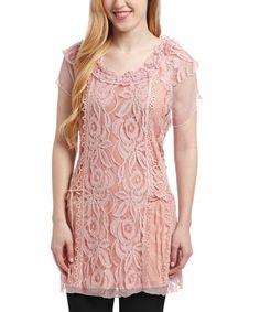 Look at this #zulilyfind! Mauve Lace Linen-Blend Cap-Sleeve Tunic #zulilyfinds $32.99