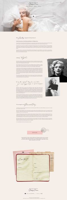 New in Portfolio: The Secret Death of Marilyn Monroe Website Design– Cocorrina Blog Layout, Web Layout, Layout Design, Web Ui Design, Blog Design, Branding Design, Marilyn Monroe Death, Beautiful Web Design, Website Web
