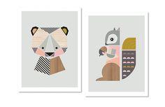 "Squirrel and Bear Girl's Nursery prints, A3 or 11x14"" size,kidsroom art, woodland nursery, girls room art, girl nursery,nursery art,kids art"