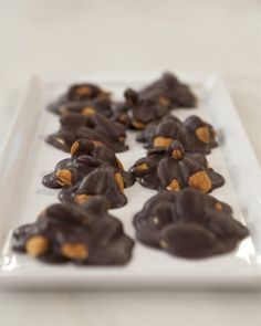 "Dark Chocolate Nut Clusters.. ""Combine crunchy almonds and sweet dark chocolate for a delicious dessert that's actually healthy to eat. Makes 32 clusters (114 calories each)."" -website"