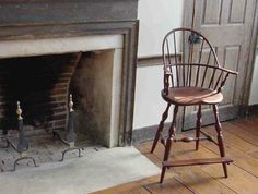 Windsor Chair Next To Antique Fireplace