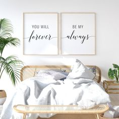 You Will Forever Be My Always Printable Art, Set of 2 Wall Art, Couple Bedroom Decor, Above Bed Art, Bedroom Prints, Bedroom Art, Wall Prints, Bedroom Ideas, Bedroom Signs, Large Bedroom, Master Bedroom, Bedroom Corner, Single Bedroom