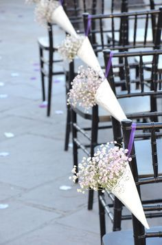 Great DIY wedding project inspirations for your big day!!! Love the idea of these aisle cones with pearl, bead and wire sprays