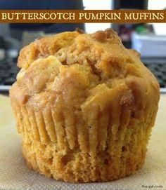 Butterscotch pumpkin muffins, the perfect fall treat. #pumpkin #butterscotch #muffin