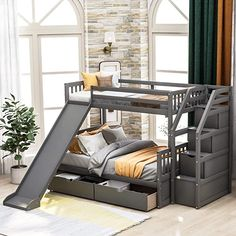 Twin Over Full Bunk Bed with Stairs and Storage Drawers for Kids, Bunk Beds Twin Over Full Size with Staircase and Slide, Wood Twin Over Full Bunk Bed Frame, No Box Spring Needed (Gray) Bunk Bed With Stairs And Storage, Bunk Bed With Slide, Bed Frame With Drawers, Bunk Beds With Drawers, Bunk Bed With Trundle, Full Bunk Beds, Bunk Beds For Girls Room, Girls Bunk Beds, Girls Bedroom