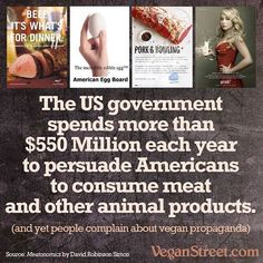 usda,meat-Repost veganstreet (get_repost)・・・Do you sometimes think there is a government conspiracy urging people to eat animals? Well, you're ri Vegan Facts, Vegan Memes, Vegan Quotes, Vegan Humor, Vegan Funny, Why Vegan, Vegan Vegetarian, Vegetarian Facts, Vegetarian Recipes