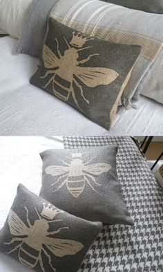 Hand printed Queen bee cushion #ad #Etsy #bee #bees #cushion