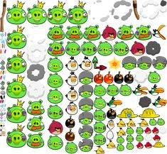 A whole lot of pics of all the different Angry Birds and pigs.   Wish I had this when I was making all the fondant characters...