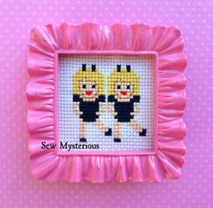 Emoji Bunny Girls Dancing Twins BFFs - Completed Cross Stitch in Ruffle Detail Frame - Single or Set of Two