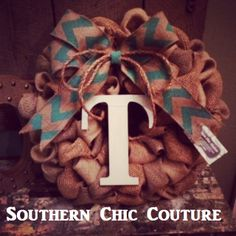 Burlap Wreath with monogram  - Perfect Wedding Present. Etsy Southern Chic Couture to order.