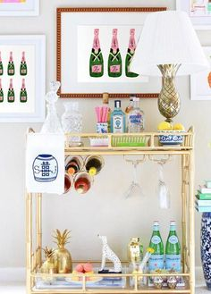 Bar Cart Ideas - There are some cool bar cart ideas which can be used to create a bar cart that suits your space. Having a bar cart offers lots of benefits. This bar cart can be used to turn your empty living room corner into the life of the party. Diy Bar Cart, Gold Bar Cart, Bar Cart Decor, Bar Cart Styling, Bar Carts, Home Bar Decor, Mini Bars, Bar Furniture, Plywood Furniture