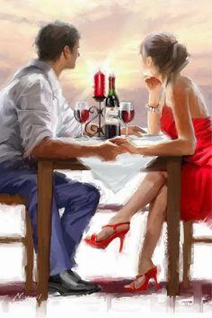 Trademark Fine Art 'Valentine Sunset' Canvas Art by The Macneil Studio, Size: 30 x Multi-color Couple In Love, Couple Art, Oil Painting On Canvas, Diy Painting, Figure Painting, Painting Flowers, Canvas Artwork, Art Du Vin, Sunset Canvas