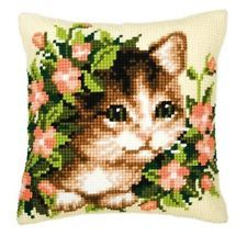 """VERVACO KITTEN Chunky Cross stitch cushion front kit 16x16"""" taperstry canvas"""