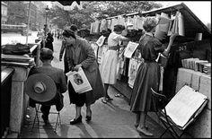 Book Sellers along the Seine Paris 1954 Photo: Inge Morath Anja Rubik, Pablo Neruda, Inge Morath, Pont Paris, Paris Markets, Great Philosophers, Outdoor Yoga, Museum, Beaux Villages