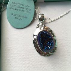 Blue Titanium Druzy Necklace Guenine Gem stone with sterling silver pendant! Jewelry Necklaces