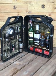 mini bar jerry can camping picnic fuel canister NEW man cave handmade metal men's gift Minibar Minib Mini Bars, Jerry Can Mini Bar, Christmas Presents For Dad, Camper Hacks, Camping Coffee, Best Gifts For Men, Unusual Gifts, Cool Gadgets, Picnic