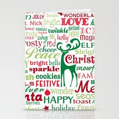 """STATIONERY CARDS / SET OF 3 FOLDED CARDS (5"""" X 7"""")  Holiday Words by MargieMark"""