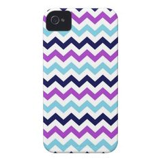 Purple and Blue Zig Zag Chevrons Pattern Case-Mate iPhone 4 Case