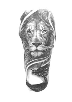 Lion Leg Tattoo, Lion Forearm Tattoos, Lion Tattoo Sleeves, Lion Head Tattoos, Full Arm Tattoos, Best Sleeve Tattoos, Card Tattoo Designs, Lion Tattoo Design, Tattoo Sleeve Designs