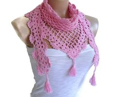Items similar to Crochet Lace Scarf valentine Holiday Accessories fashion trends unique gift Mothers day Bamboo scarf Pink scarves on Etsy Crochet Lace Scarf, Love Crochet, Crochet Scarves, Hand Crochet, Knit Crochet, Crochet Triangle, Triangle Scarf, Tunisian Crochet, Crochet Granny