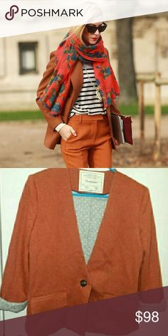 """{Anthropologie} cartonnier sans collar blazer With a jacket-like structure, soft jersey feel and abridged lapels, Cartonnier's coat is prim without being buttoned-up.  Front flap pockets Button front Polyester, cotton; cotton, rayon lining Dry clean 24.25""""L 🎀EXCELLENT CONDITION Anthropologie Jackets & Coats Blazers"""