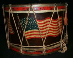 FOLK ART FLAG PARADE DRUM  American., Late 19th century.