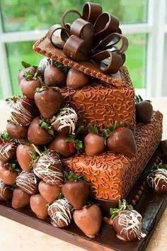 Chocolate and strawberries. Cake.