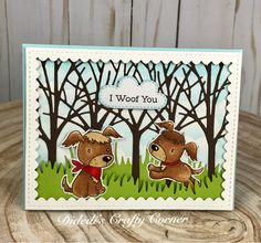 My Favorite things Puppy Pals , this set is adorable! I Also used the MFT grass Border and cloud stencil. The trees are from Gina Marie Designs (tree frame) and the frame is a Gina Marie Designs Die (scalloped stitched frame)