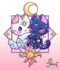 Luna y Artemis Chat Kawaii, Manga Kawaii, Arte Do Kawaii, Kawaii Cat, Cute Kawaii Animals, Cute Animal Drawings Kawaii, Cute Drawings, Arte Sailor Moon, Chibi Anime