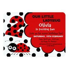 Girls Ladybug 2nd Birthday Party Invitation Invitations Parties