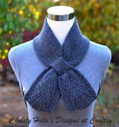 Everest Scarf (Keyhole/Ascot/Stay On/Pull Through/Vintage) Scarf Knitting Pattern Knitting Charts, Knitting Patterns Free, Free Knitting, Shawl Patterns, Lace Patterns, Cozy Scarf, Ascot, Knit Crochet, Knitted Scarves