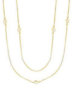Gargantilha Tiffany Inspired folheada a ouro c  zircônias (corrente longa  s  fecho) 9e59eadfc2