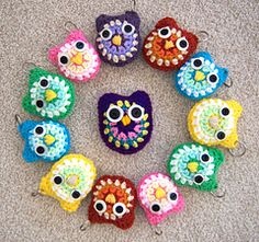 This is a very fast project to make. This would be ideal for gifts or craft show items. You could attach your owl to a key chain or a back pack clip. I bought the colored key chain rings at Wal-mart, or you can get them at your local craft shop.