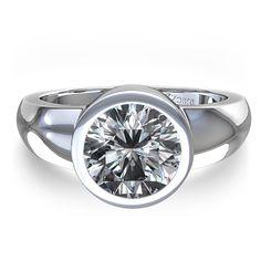 bezel set engagement rings | Bezel Set Round Diamond Engagement Ring in 14k White Gold