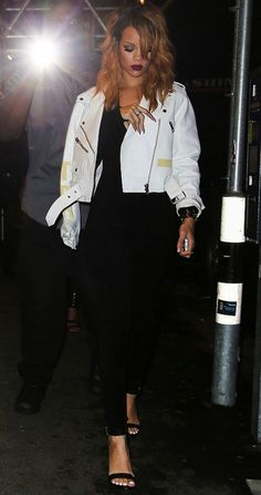 3514617e61e Rihanna s Switzerland Acne Road Petite White Leather Jacket and Black  Azzedine Alaia Jumpsuit Rihanna Looks