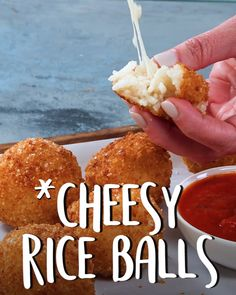 Arancini Cheesy Italian Rice Balls For perfectly fried, mozzarella Arancini, dip a rice ball into flour and shake off any excess Dip floured ball into egg, allowing any excess to drip off Finish by coating completely -