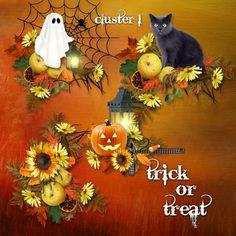 Trick or Treat Cluster Set 1 - Fall Autumn Halloween Digital Scrapbooking