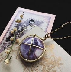polyxo amethyst necklace brass crystal necklace witch