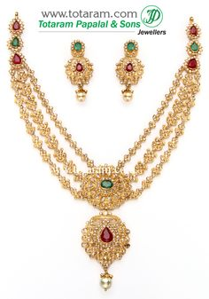 "Totaram Jewelers: Buy 22 karat Gold jewelry & Diamond jewellery from India: ""22K Gold Necklace & Ear Hangings Set with Uncut Diamonds"
