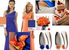 Non traditional wedding colours that work! Sapphire blue with orange ...