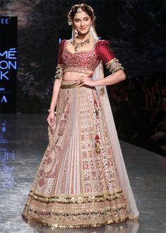 Saiee Manjrekar looks like a royal princess as she walks the ramp at the Lakme Fashion week for the very first time ! Indian Bridal Outfits, Indian Bridal Lehenga, Indian Designer Outfits, Indian Dresses, Bridal Dresses, Designer Dresses, Indian Clothes, Wedding Lehenga Designs, Designer Bridal Lehenga